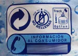 etiqueta no rellenar botella